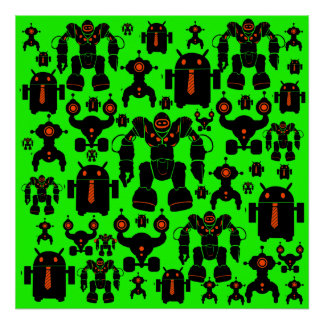 Robots Rule Fun Robot Silhouettes Lime Green Poster