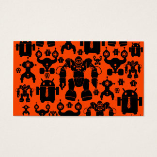 Robots Rule Fun Robot Silhouettes Orange Robotics Business Card