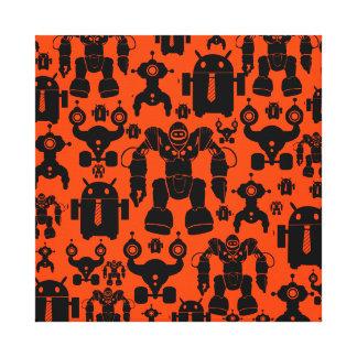 Robots Rule Fun Robot Silhouettes Orange Robotics Canvas Print