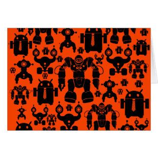 Robots Rule Fun Robot Silhouettes Orange Robotics Card