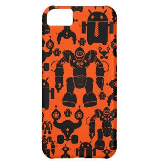 Robots Rule Fun Robot Silhouettes Orange Robotics iPhone 5C Covers