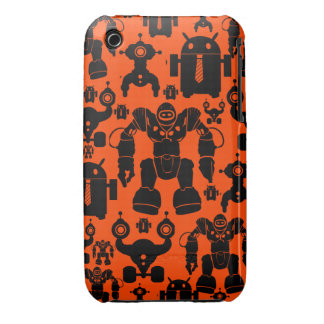 Robots Rule Fun Robot Silhouettes Orange Robotics iPhone 3 Case-Mate Cases