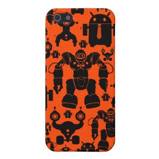 Robots Rule Fun Robot Silhouettes Orange Robotics Case For iPhone 5