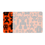 Robots Rule Fun Robot Silhouettes Orange Robotics Shipping Labels