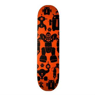 Robots Rule Fun Robot Silhouettes Orange Robotics Skateboard Deck