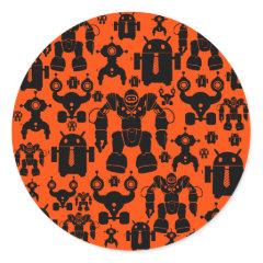 Robots Rule Fun Robot Silhouettes Orange Robotics Round Sticker