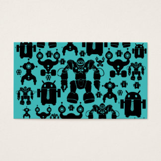 Robots Rule Fun Robot Silhouettes Pattern Blue Business Card
