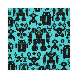 Robots Rule Fun Robot Silhouettes Pattern Blue Canvas Print