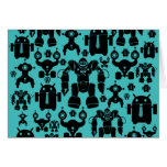 Robots Rule Fun Robot Silhouettes Pattern Blue Stationery Note Card