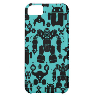 Robots Rule Fun Robot Silhouettes Pattern Blue iPhone 5C Cases