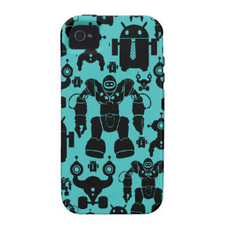 Robots Rule Fun Robot Silhouettes Pattern Blue Case-Mate iPhone 4 Cases