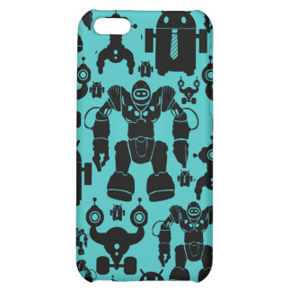 Robots Rule Fun Robot Silhouettes Pattern Blue iPhone 5C Cover
