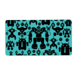 Robots Rule Fun Robot Silhouettes Pattern Blue Custom Shipping Label