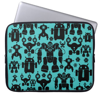 Robots Rule Fun Robot Silhouettes Pattern Blue Laptop Sleeve