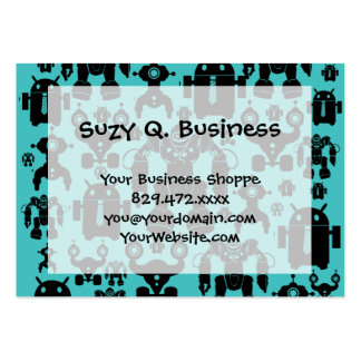 Robots Rule Fun Robot Silhouettes Pattern Blue Large Business Card