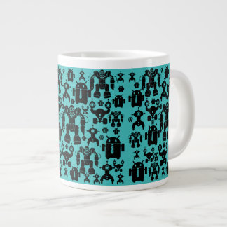 Robots Rule Fun Robot Silhouettes Pattern Blue Large Coffee Mug
