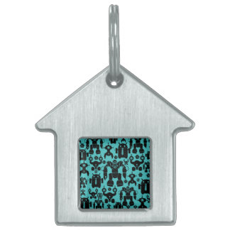 Robots Rule Fun Robot Silhouettes Pattern Blue Pet ID Tags