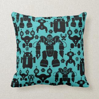 Robots Rule Fun Robot Silhouettes Pattern Blue Throw Pillow