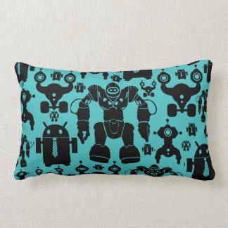Robots Rule Fun Robot Silhouettes Pattern Blue Pillow