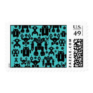 Robots Rule Fun Robot Silhouettes Pattern Blue Stamps