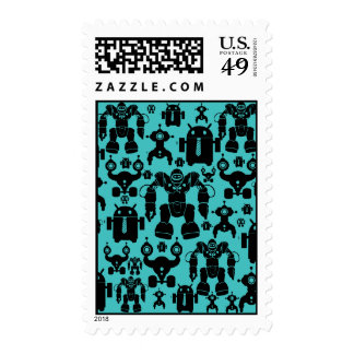 Robots Rule Fun Robot Silhouettes Pattern Blue Postage Stamps