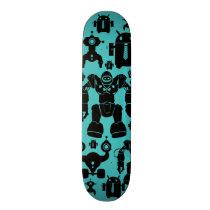 Robots Rule Fun Robot Silhouettes Pattern Blue Skateboard Deck