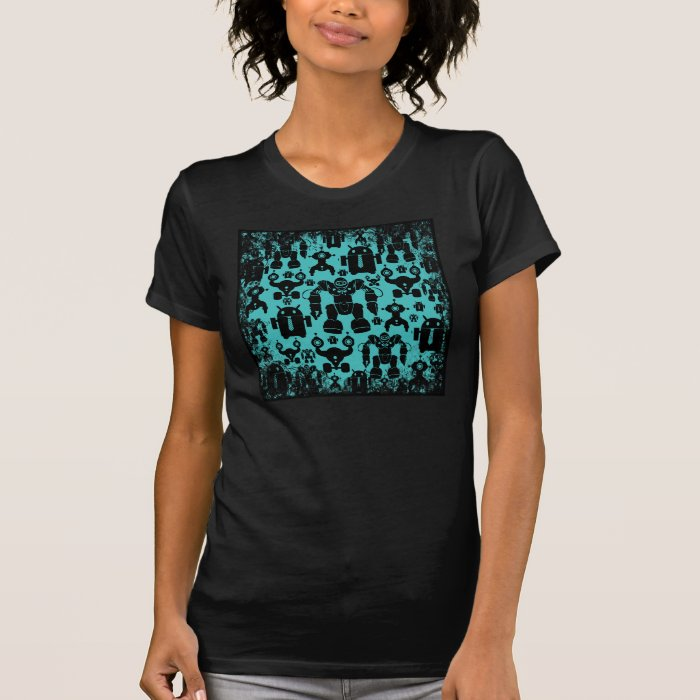 Robots Rule Fun Robot Silhouettes Pattern Blue T-Shirt