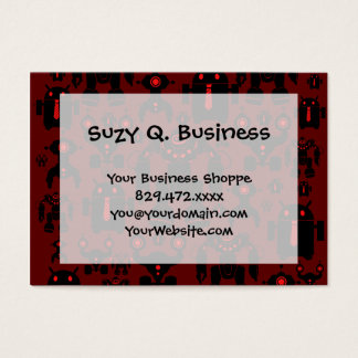 Robots Rule Fun Robot Silhouettes Red Robotics Business Card