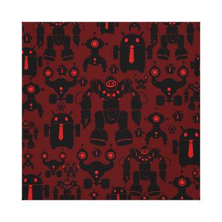 Robots Rule Fun Robot Silhouettes Red Robotics Gallery Wrap Canvas
