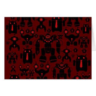 Robots Rule Fun Robot Silhouettes Red Robotics Card