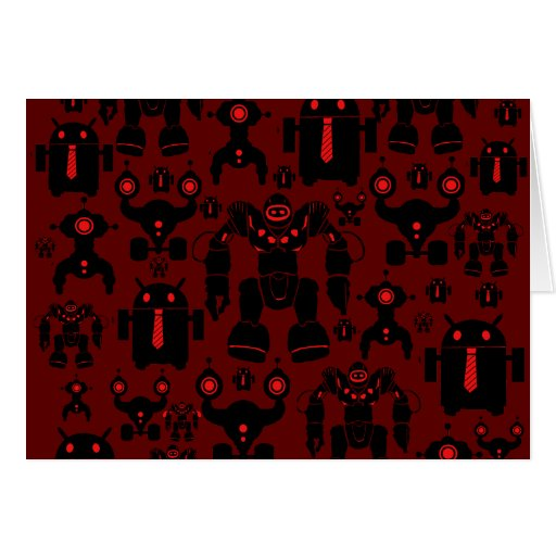 Robots Rule Fun Robot Silhouettes Red Robotics Card