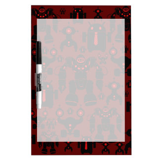 Robots Rule Fun Robot Silhouettes Red Robotics Dry Erase Board