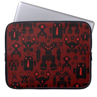 Robots Rule Fun Robot Silhouettes Red Robotics Laptop Sleeve