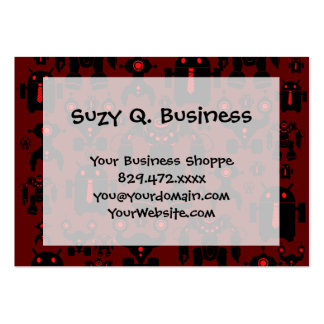 Robots Rule Fun Robot Silhouettes Red Robotics Large Business Card
