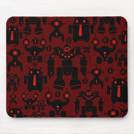 Robots Rule Fun Robot Silhouettes Red Robotics Mouse Pad