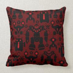 Robots Rule Fun Robot Silhouettes Red Robotics Throw Pillow