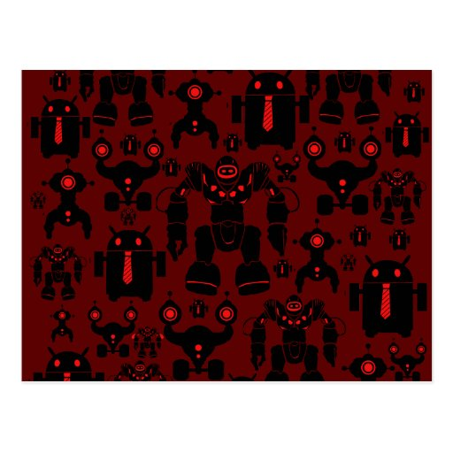 Robots Rule Fun Robot Silhouettes Red Robotics Postcard
