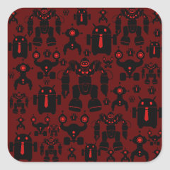 Robots Rule Fun Robot Silhouettes Red Robotics Stickers