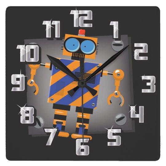 Robots Square Wall Clock
