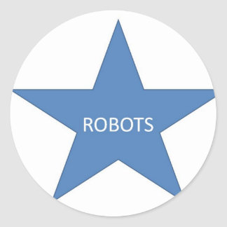 Robots Star Classic Round Sticker