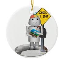 Robox9 at The Bus Stop - Back To School Ceramic Ornament