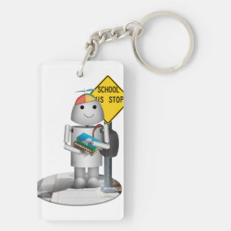 Robox9 at The Bus Stop - Back To School Double-Sided Rectangular Acrylic Keychain