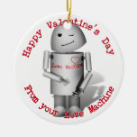 Robox9 is your Love Machine Double-Sided Ceramic Round Christmas Ornament