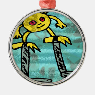 Robs little monster #2 metal ornament