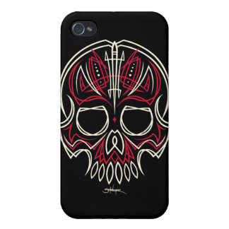 robschwager red pinstripe skull Iphone case