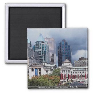 Robson ajusta, centro de ciudad, Vancouver, Col br Imán Cuadrado