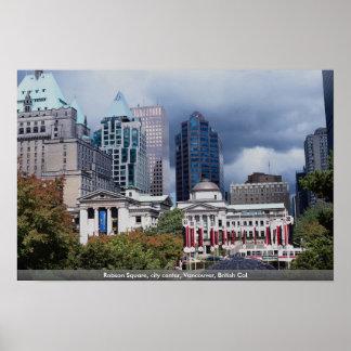 Robson ajusta, centro de ciudad, Vancouver, Col br Posters