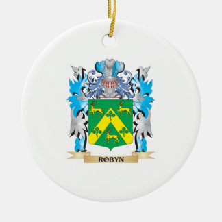 Robyn Coat of Arms - Family Crest Double-Sided Ceramic Round Christmas Ornament