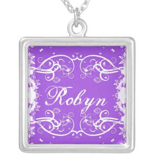 """Robyn"" en flourish púrpura remolina collar"