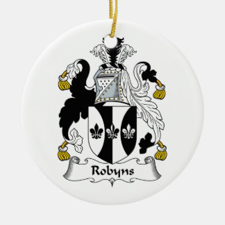 Robyns Family Crest Double-Sided Ceramic Round Christmas Ornament